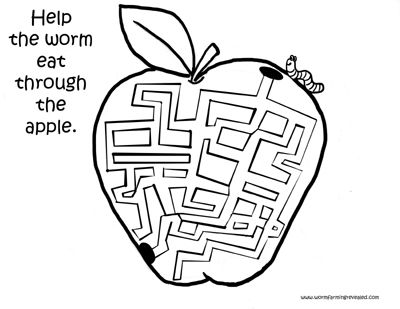 Worm Coloring Pages Apple Maze. Help the hungry worm eat