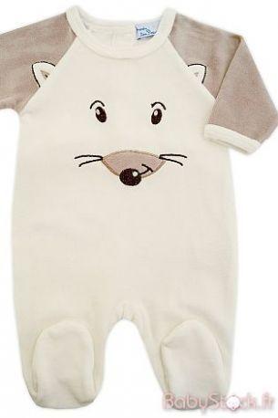 5e43d59b4d198 Pyjama bébé mixte en velours crème   beige mastic Loustic ...