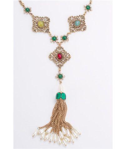 fa6f56206440 Collar Largo Corbatero Dorado Con Perlas y Aretes Florales Modelo C017 - 3