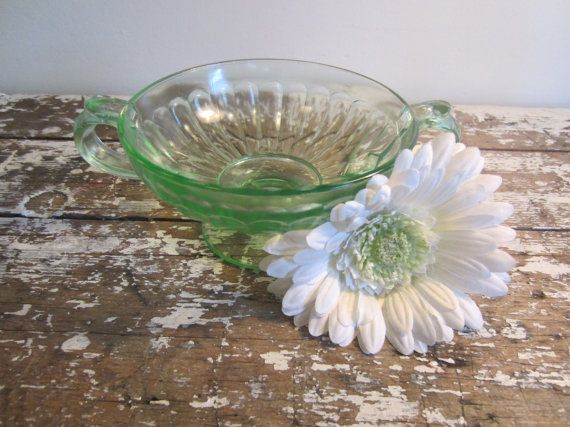 Green Glass Pedestal Dish Vintage Glass by VintageShoppingSpree, $18.00