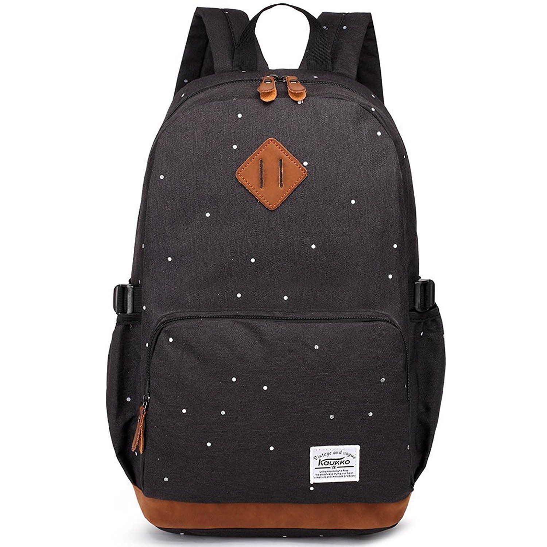 e6f190b9479f KAUKKO Stylish Canvas Backpack Travel Hiking Lightweight Bookbag ...