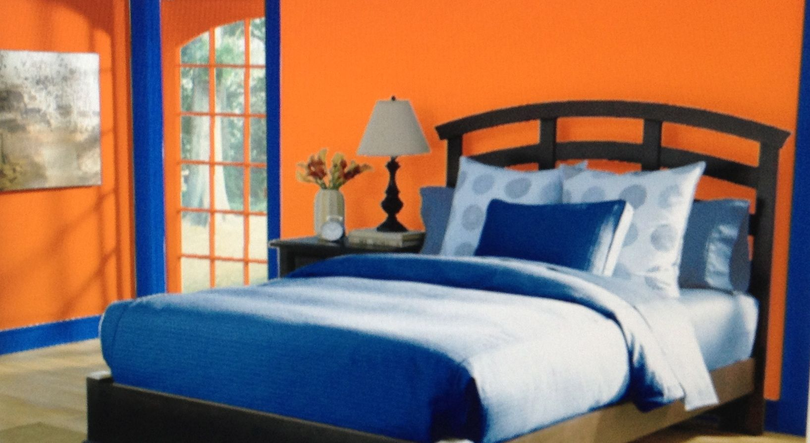 This is a complementary bedroom with a color scheme of Together interiors