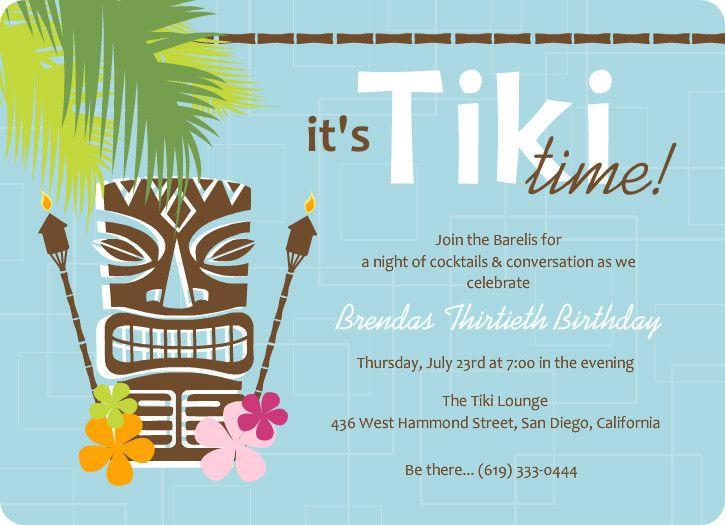 blue retro pattern tiki party invite | invitations | pinterest, Invitation templates