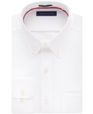 Tommy Hilfiger Men's Classic-Fit Non-Iron Solid Dress Shirt - White 16.5 36/37