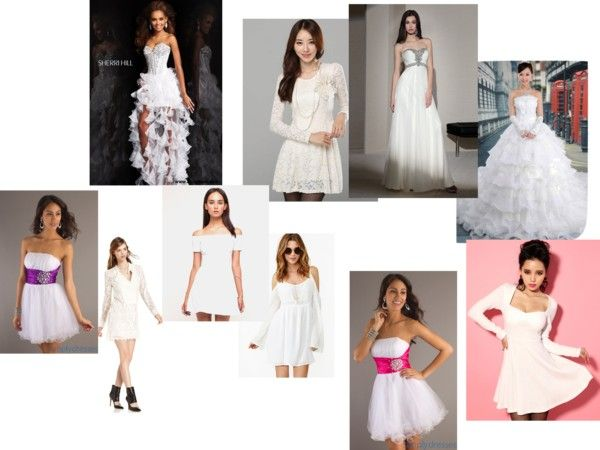 """""""white dresses"""" by sydneyswaney ❤ liked on Polyvore"""