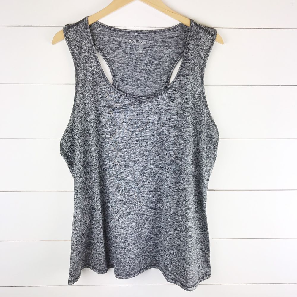 2a457fd139d8a Ideology Plus Size Top 2X Racerback Swing Tank Gray Heathered Active Wear