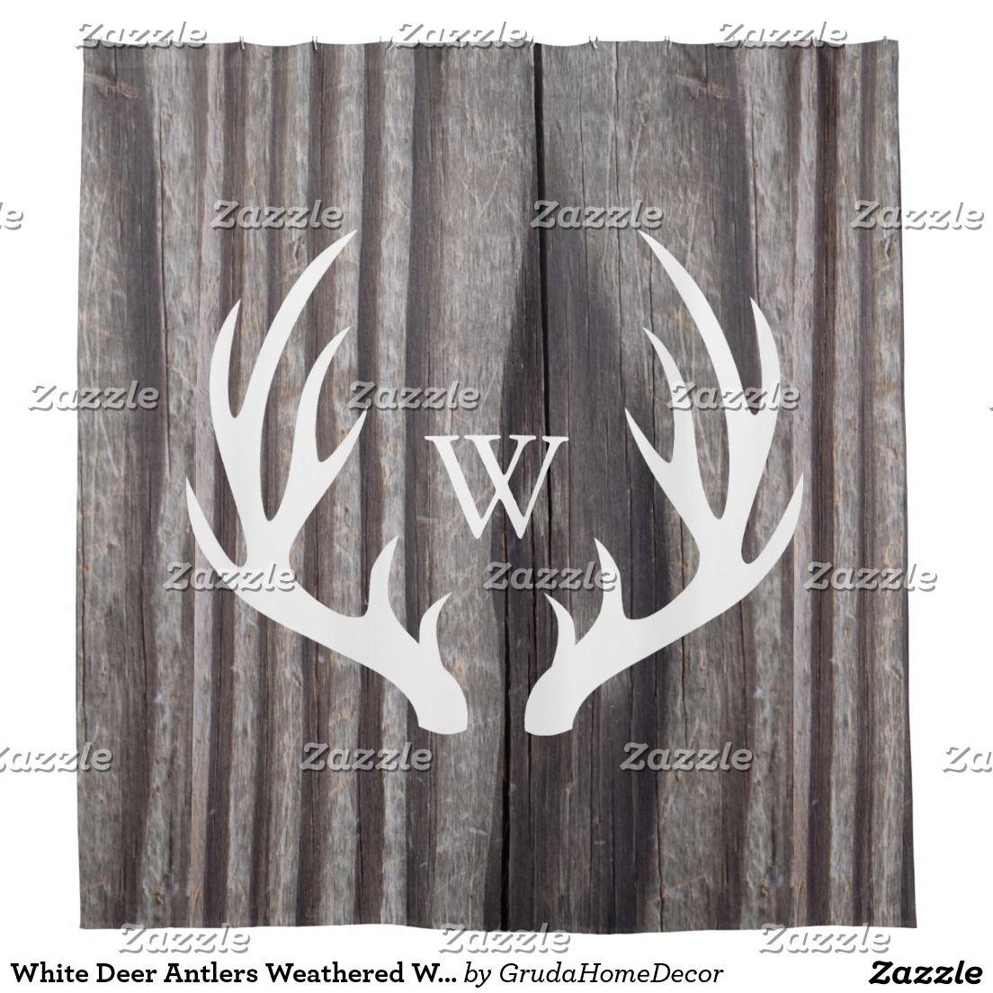 Etonnant White Deer Antlers Weathered Wood Monogram Shower Curtain