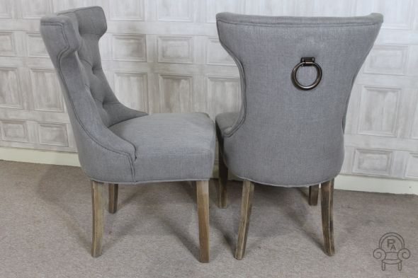 French Inspired Dining Chair With Metal Ring Dining Chairs Grey