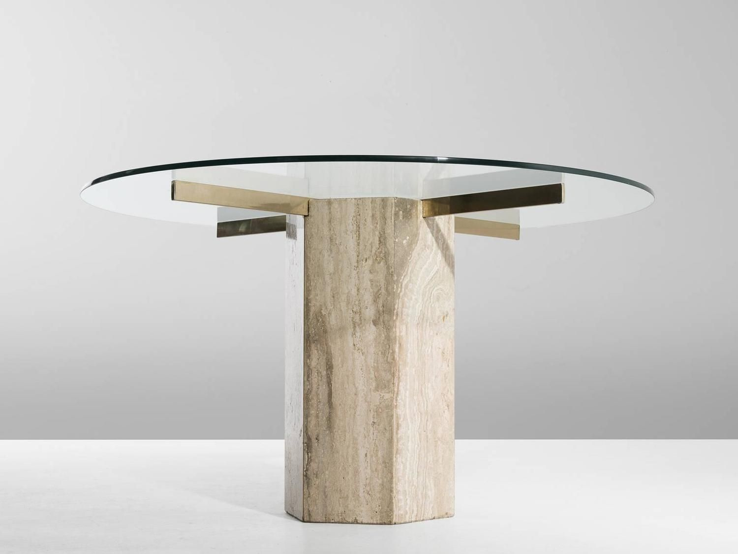 Travertine dining room table - Italian Travertine And Brass Round Dining Table