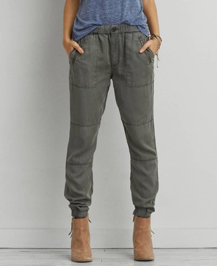 bca21451cb46 American Eagle Zipper Jogger (Jogging Pants), Women's, Olive Green ...