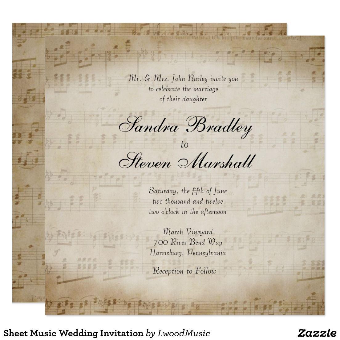 Sheet Music Wedding Invitation | Music Themed Wedding | Pinterest ...