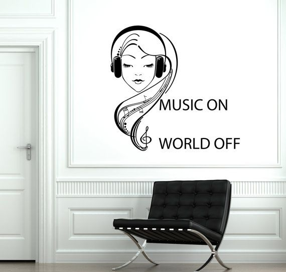 Wall Vinyl Decal Music On World Off Quotes Headphones Notes Decor