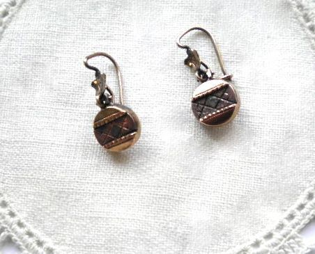 BlackGold Dangles are for Pierced Ears Unique and Antique Stunning and Elegant Vintage Victorian Earrings RedGold are Clip-Ons