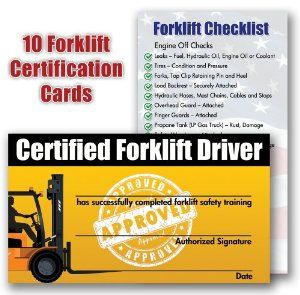 Amazon Com Forklift Certification Training Cards Package Of 10 Certificate Templates Forklift Card Template