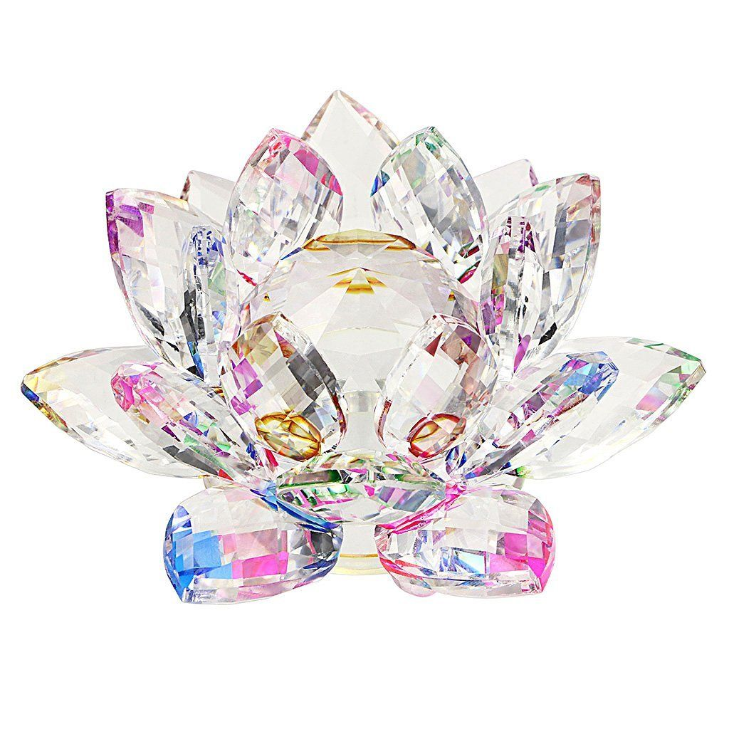 Sumnacon Crystal Sparkle Lotus Flower 4 Inch Colorful Lotus Flowers