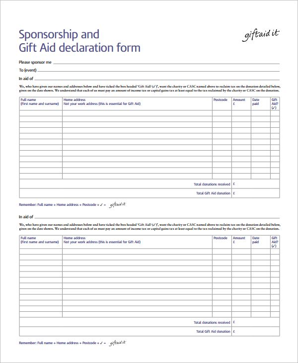 10+ Sponsorship Form Templates Word, Excel  PDF Templates www - charity sponsor form template