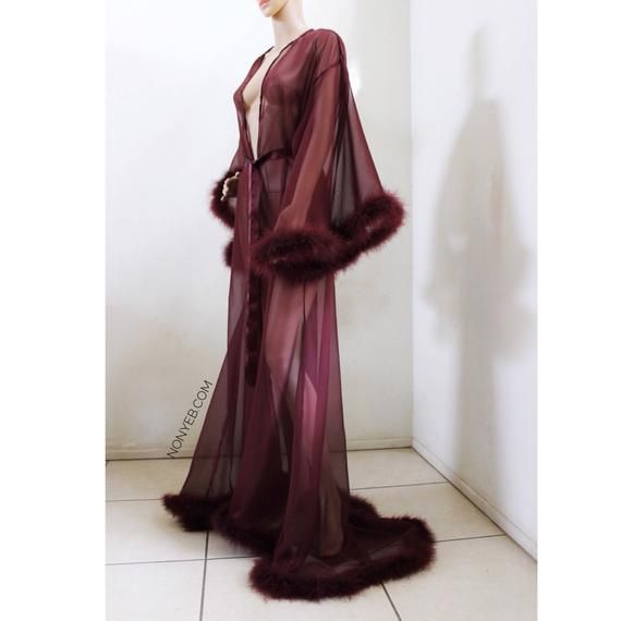 ccf9e0885 Giselle 'Burgundy Wine' Sheer Robe with fur trim, satin ribbon ties. High  quality lingerie