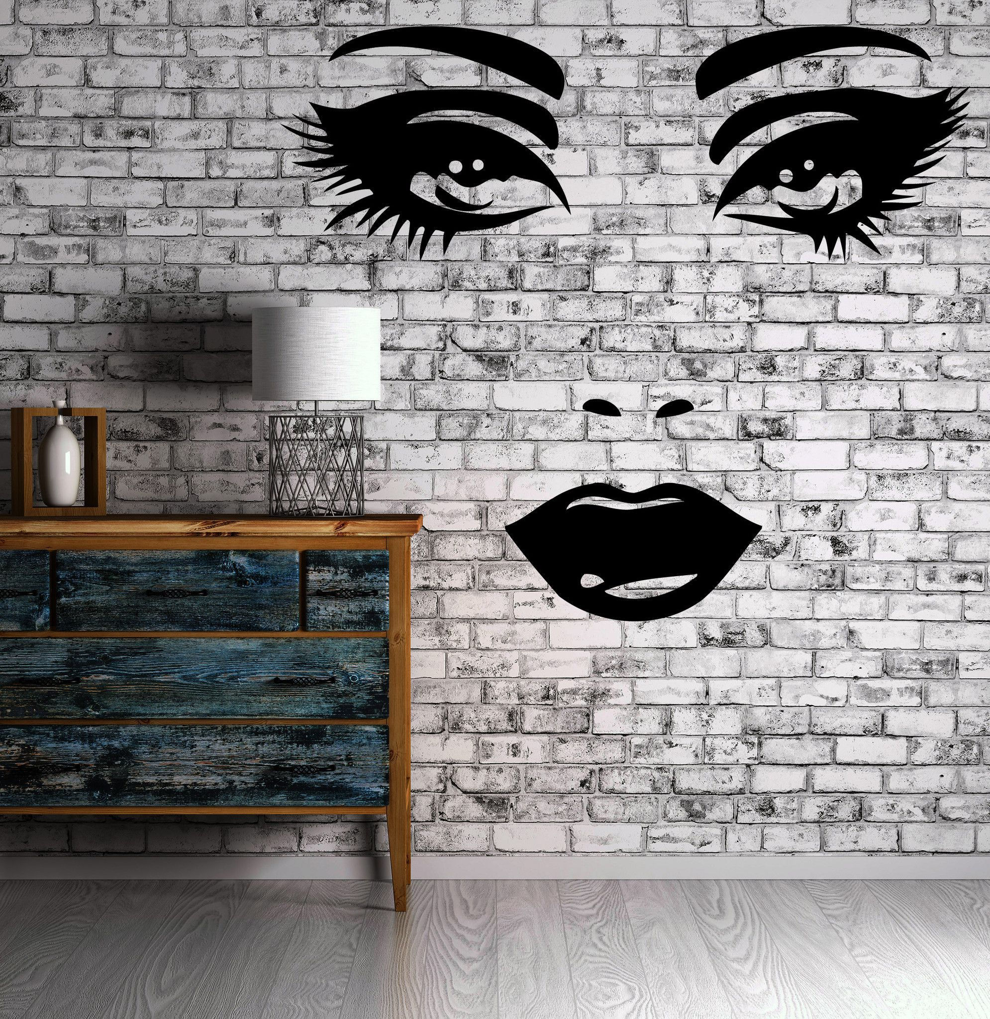 Décoration Murale Vinyle Female Face Sexy Lips Beautiful Eyes Decor Wall Mural Vinyl Decal