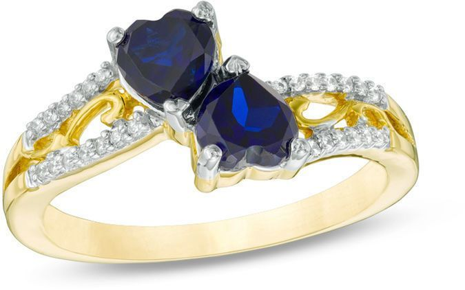 Zales 8.0mm Heart-Shaped Lab-Created Blue Sapphire Solitaire Ring in 10K Gold ZfGvNW5dgL