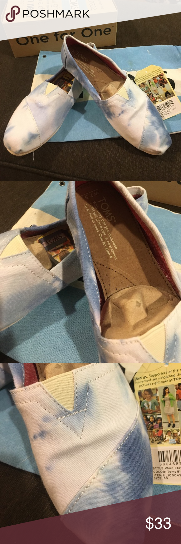 Toms blue tie dyed women 7.5 Nib New in Box comes with dust bag as well. TOMS Shoes Moccasins