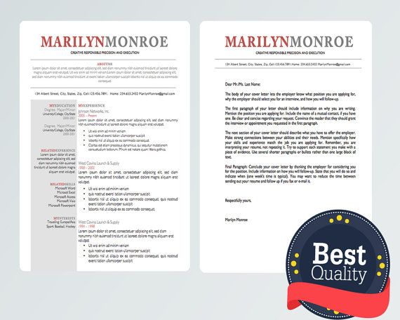 Resume Cover Letter Design Template Microsoft By Urbandsigns