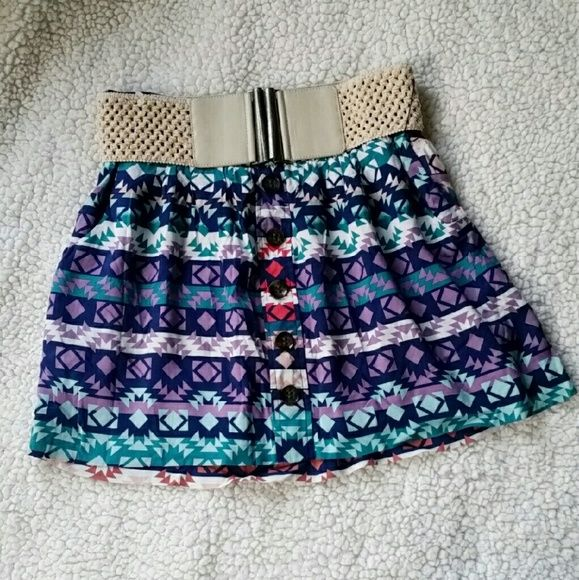 Colorful Tribal Pattern Skirt With Belt Like New only worn once. Lining underneath. Can be worn with or without the belt and all buttons are in place! Charlotte Russe Skirts Mini