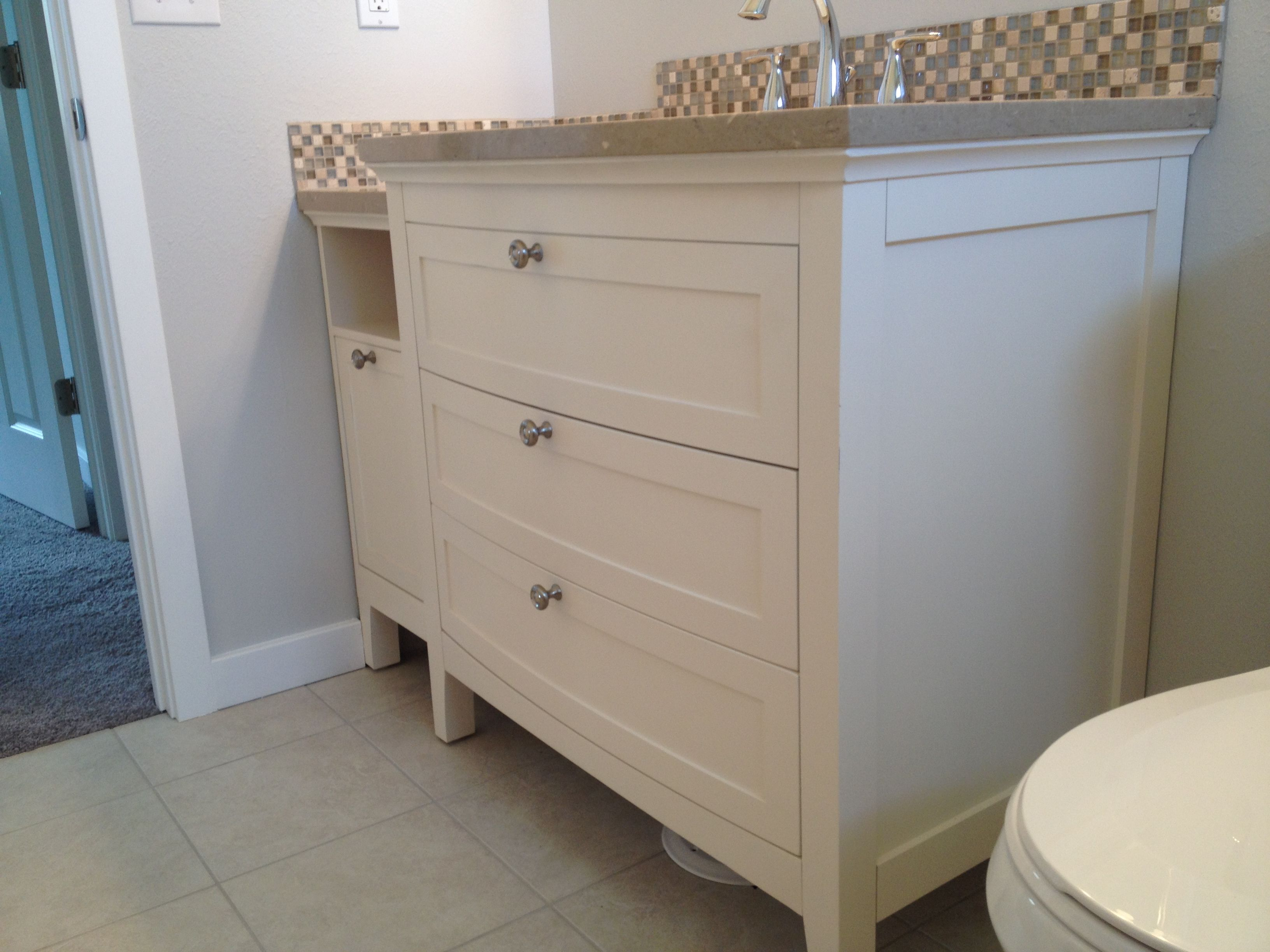 Need extra storage in your bathroom? This bathroom vanity has pull out drawers, looks fabulous and you can add an additional stand as shown for extra counter space too. Real Estate in Boise, Idaho