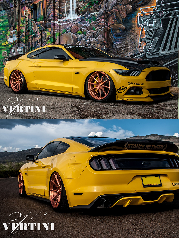 Custom Yellow Ford Mustang 5 0 With Black Accents With Carbon Fiber Rear Spoiler With Carbon Fiber Vented Hood Ford Mustang Yellow Mustang Ford Mustang Car