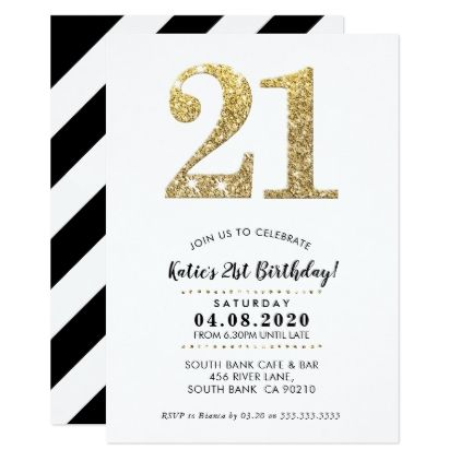 21ST BIRTHDAY PARTY INVITE modern gold glitter 21st birthday