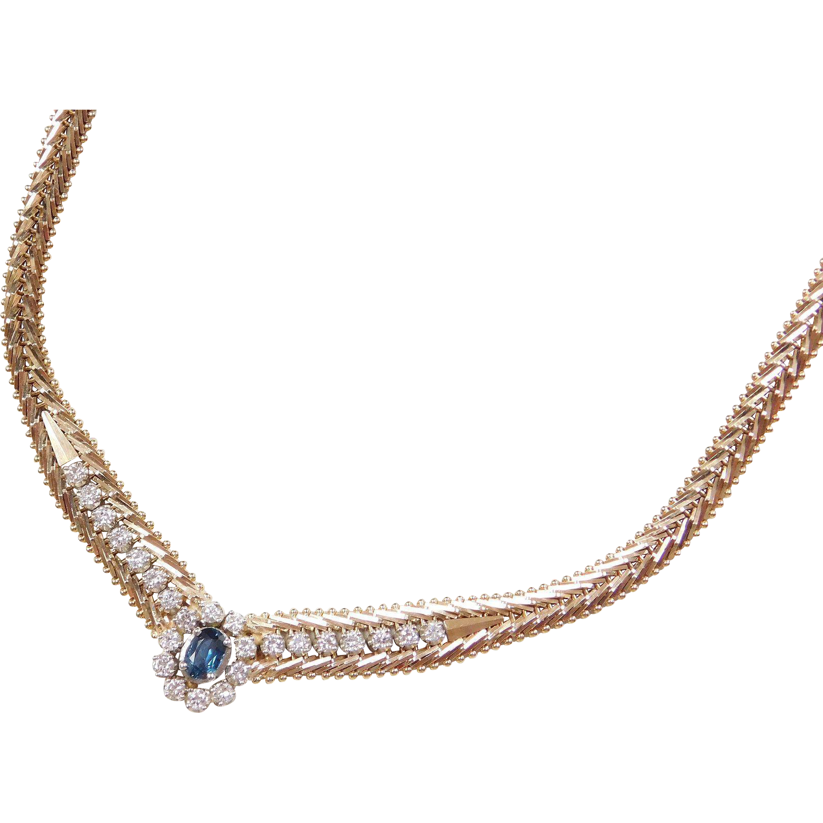 Beautiful 14k Gold 1 44 ctw Sapphire and Diamond Necklace 17 1 4
