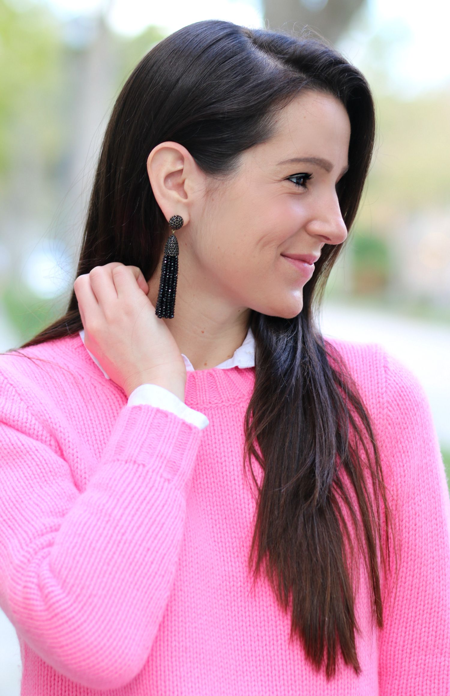 29730e2a6d ... hot pink crewneck sweater outfit from J. Such gorgeous black piñata  tassel earrings from BaubleBar! Seriously want all 16+ colors!