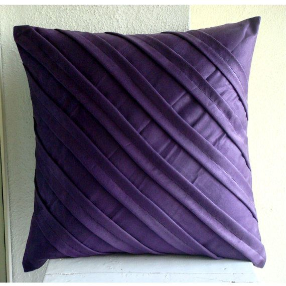 Handmade Textured Pintucks Solid Color Pillow Cases Purple