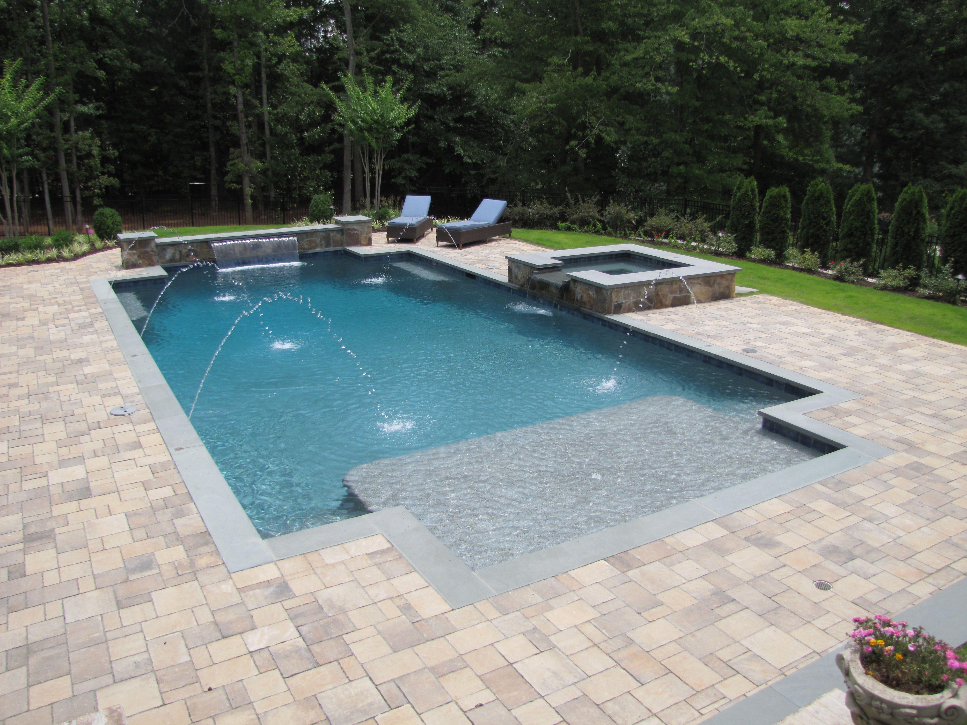 Inground Pool With Spa And Bluestone Coping And Paver Decking Pools Backyard Inground Custom Swimming Pool Luxury Swimming Pools