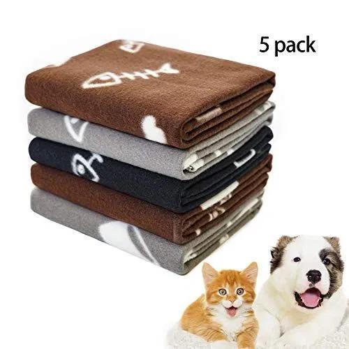 Pet Dog Blanket,Warm Dog Bed Cover Paw Print Fleece Throw