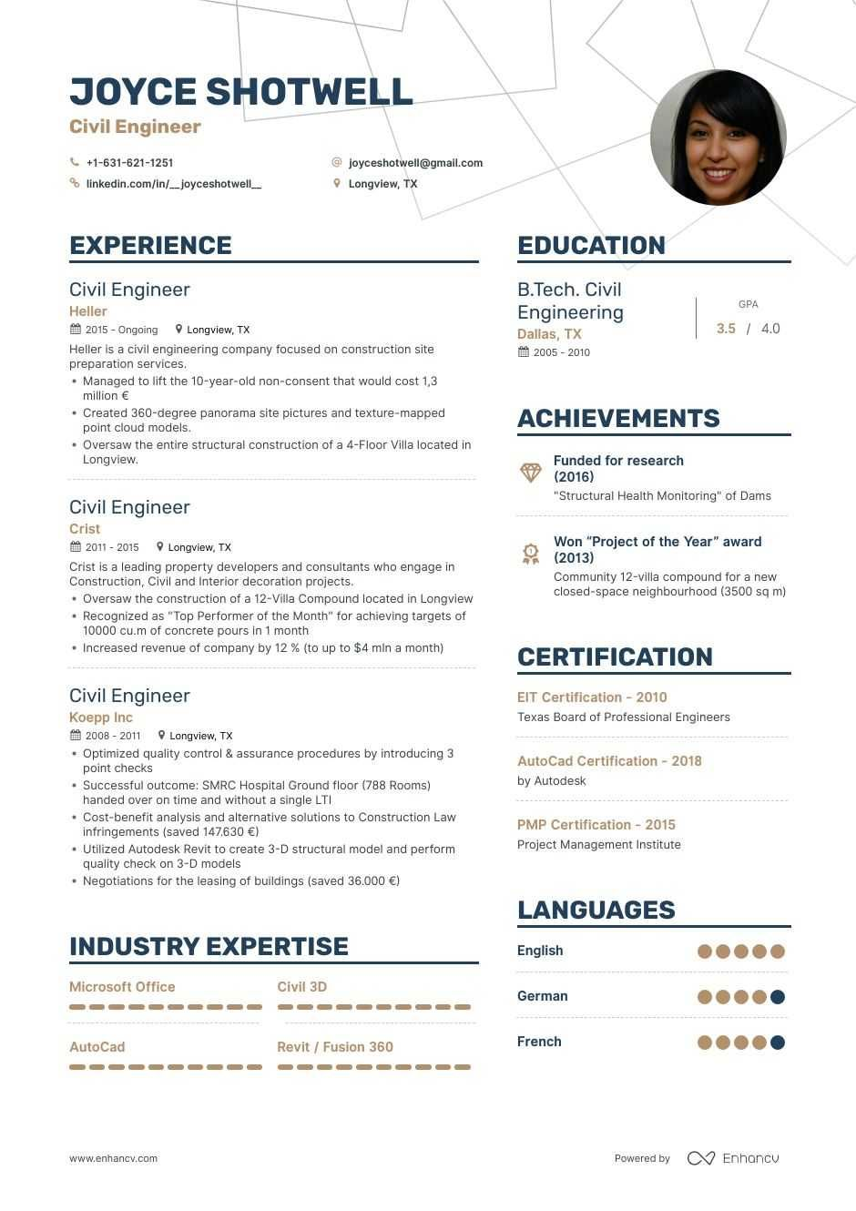 Civil Engineer Resume Examples Guide & Pro Tips Enhancv