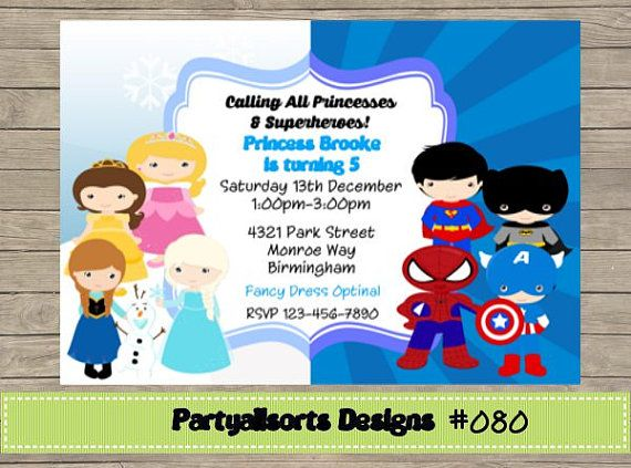 Princess And Superhero Party Invitation Template 6