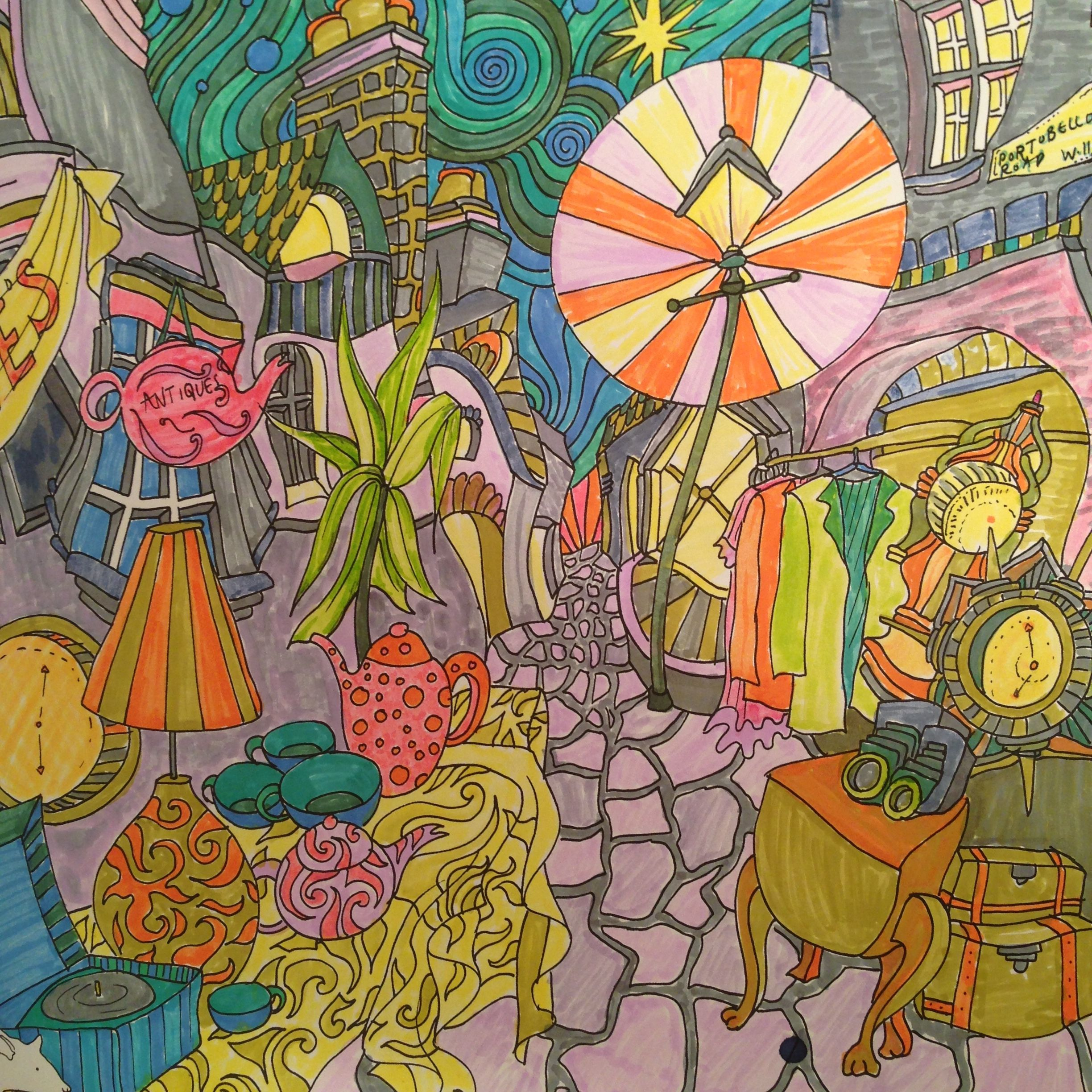 Portobello Road From The Magical City Colouring Book By Lizzie Mary Cullen Coloured