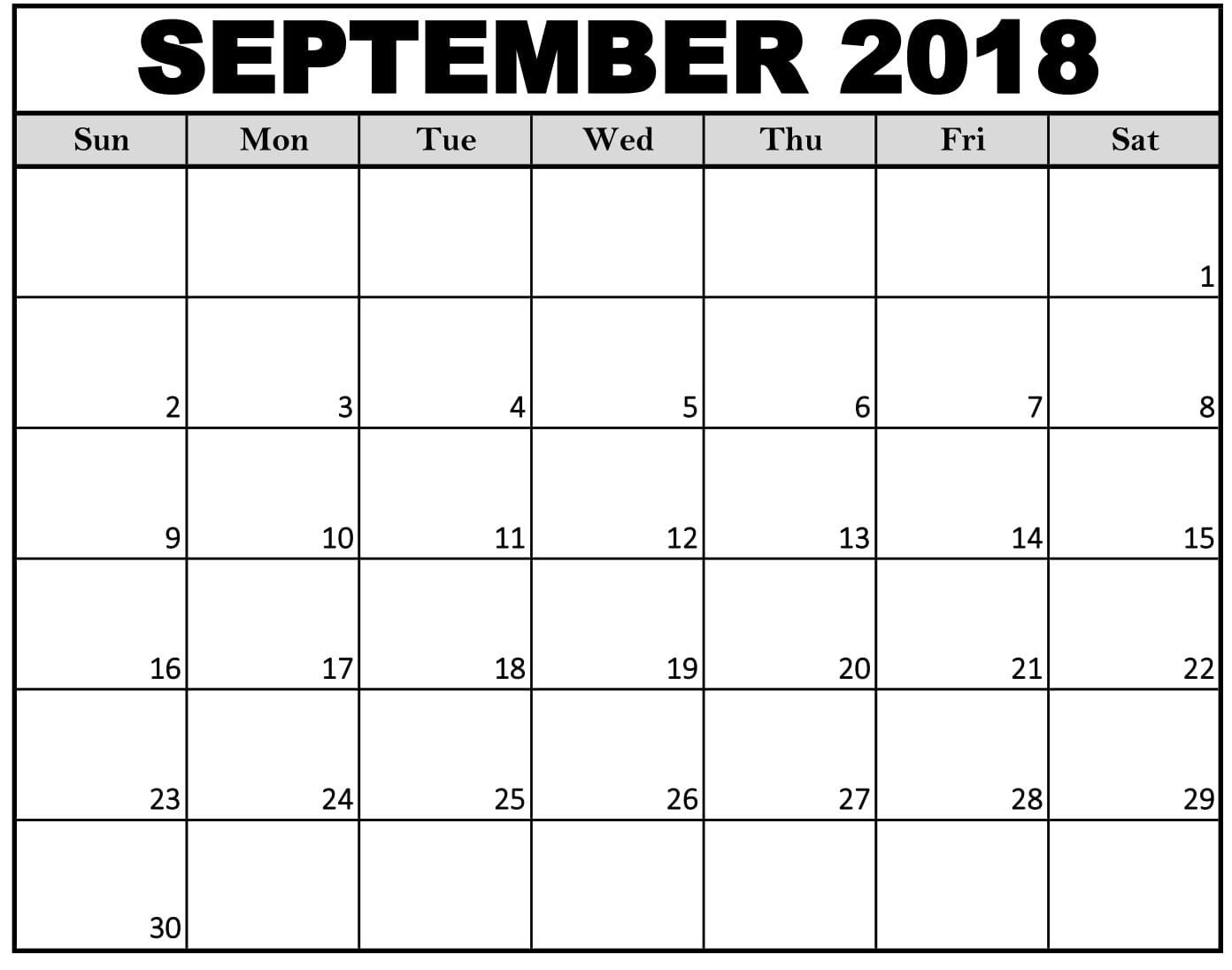 Printable Daily Calendar September By Week