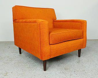 Mid Century Modern Authentic Edward Wormley Dunbar Reupholstered Orange  Tweed Lounge Chair