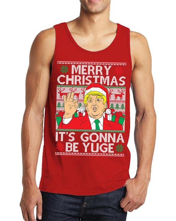 Tee Hunt Merry Flossmas Muscle Shirt Christmas Xmas Ugly Sweater Trump Floss Sleeveless