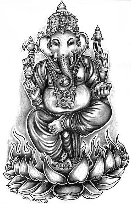 Gallery For Ganesha On Lotus Tattoo Ganesha Tattoo Elephant Tattoos Hindu Tattoo