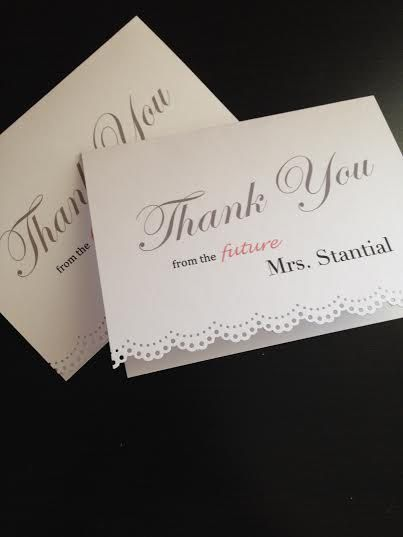 new personalized bridal shower thank you cards with lace trim made to order 10 20 30 40 on etsy 1500