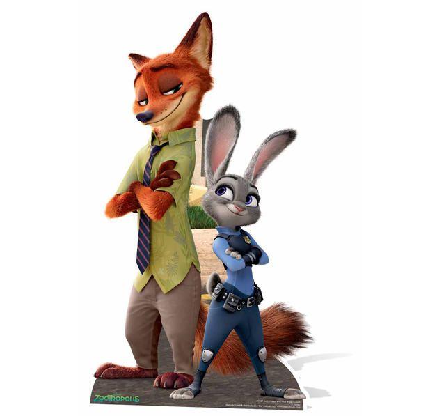 Zoomania Pappaufsteller Zoomania Nick Und Judy Disney Animation