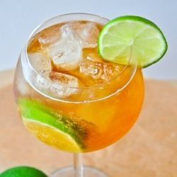 Summer ginger cocktail, with gin, ginger-ale, lime and bitters. Summer in a glass :)