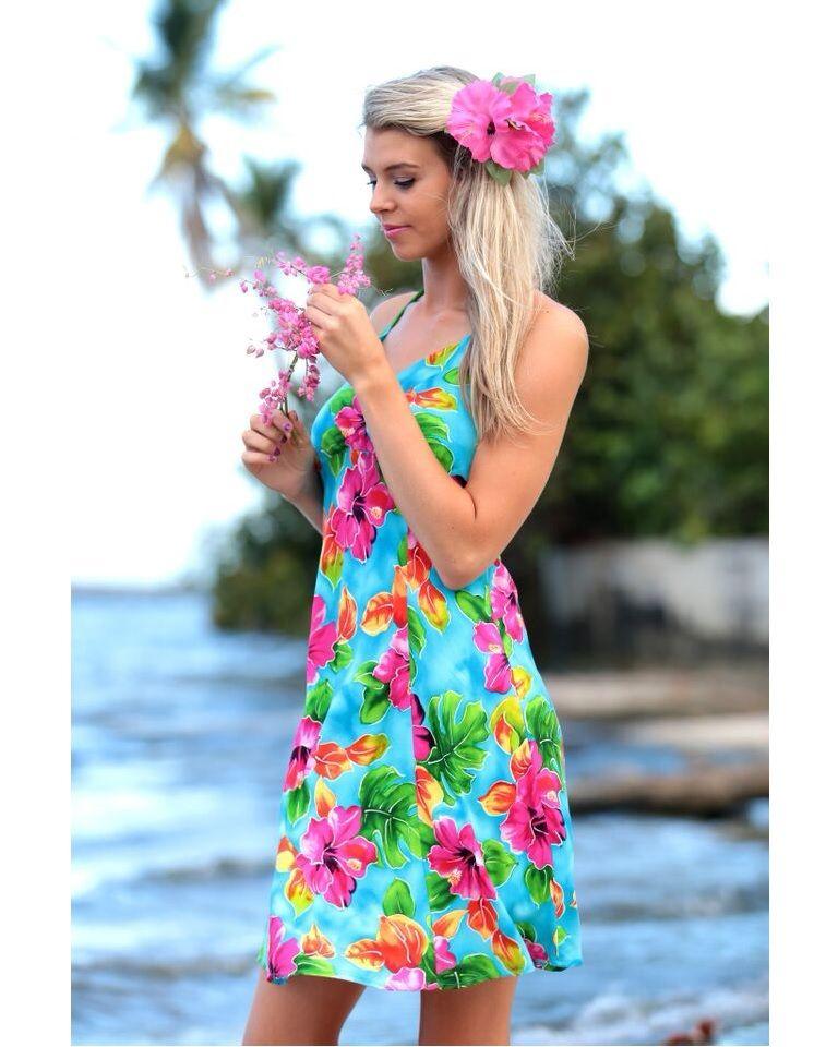 c891ccbca2e Halter Sundress - Hibiscus Watercolor - Turquoise in 2019
