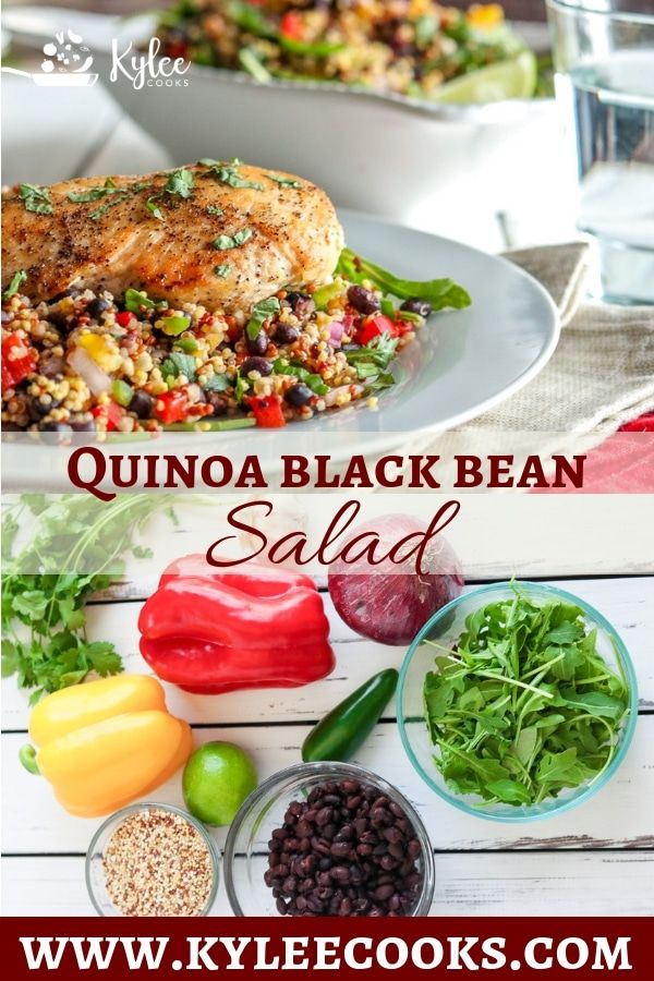 Healthy Quinoa & Black Bean Salad with a touch of spice, and a ton of flavor. Make ahead for a great lunch or dinner!