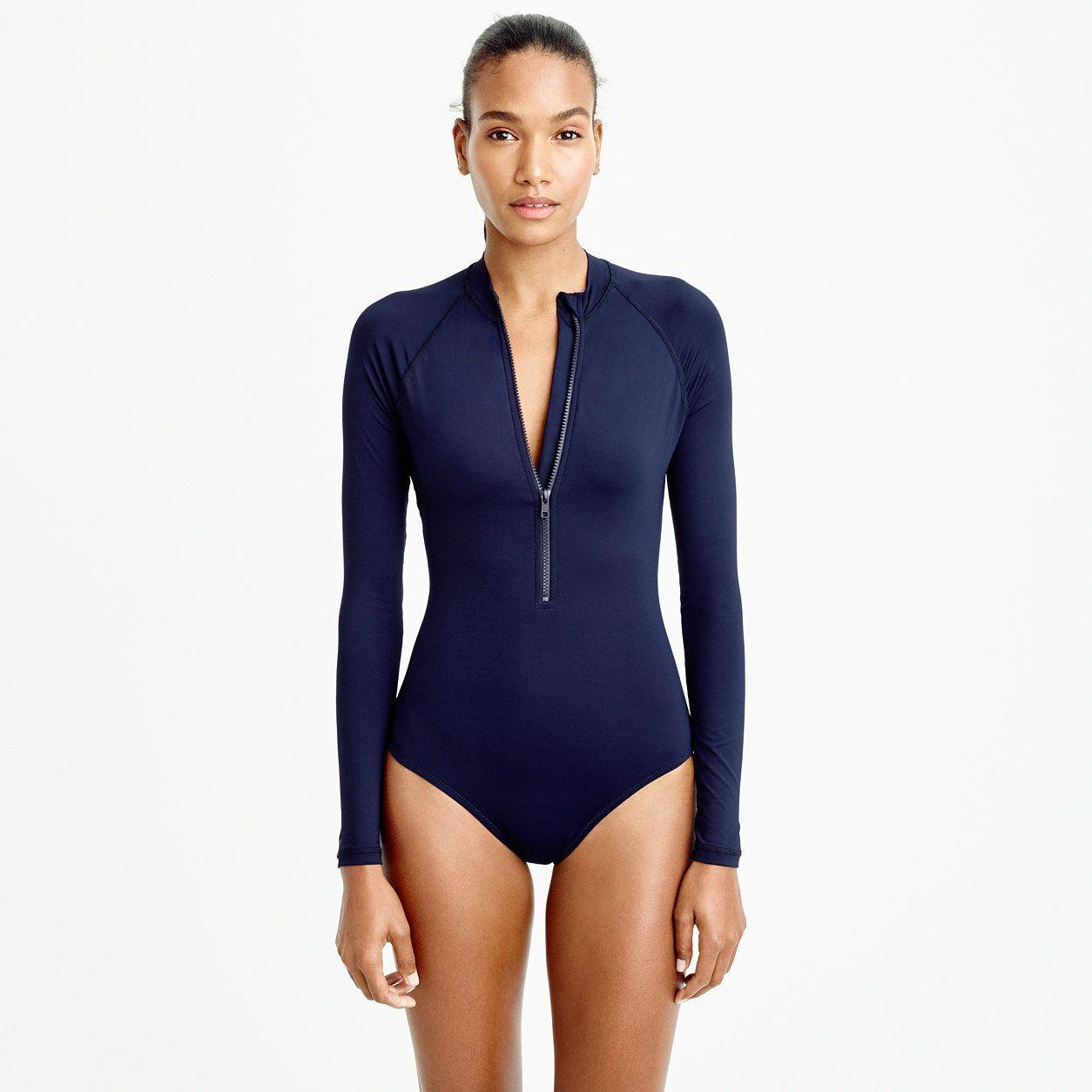 72f18d450b J.Crew Womens Long Torso Zip-Up Long-Sleeve Swimsuit (Size 16 ...