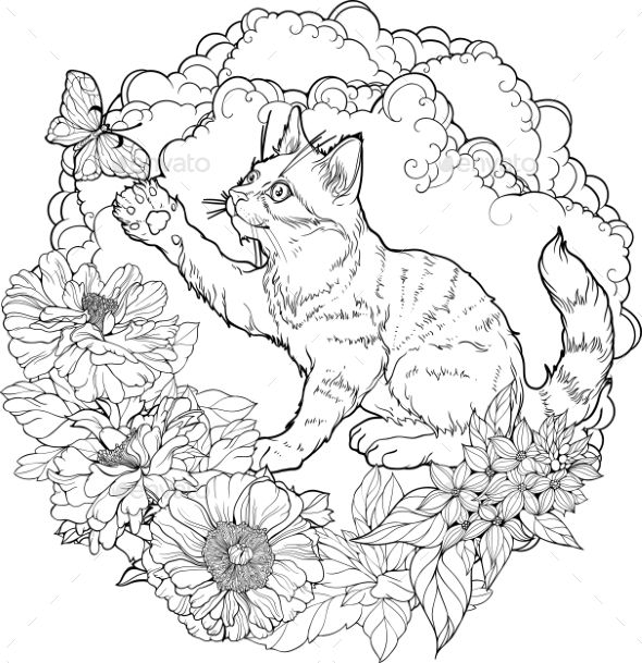 Black And White Illustration Of Cat Playing Cat Coloring Book Black And White Illustration Cat Coloring Page