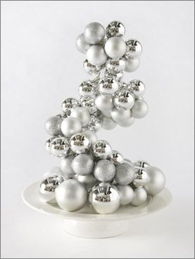 bauble centrepiece - how easy is this. Create your own Christmas deco. DIY instructions attached. This would be so cool if you made it look like it was spilling over like a birdbath or down the steps... so many ideas....cool
