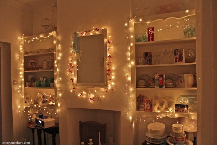 Gorgeous lit shelving can create a pretty effect any time - Fairy lights in room ...